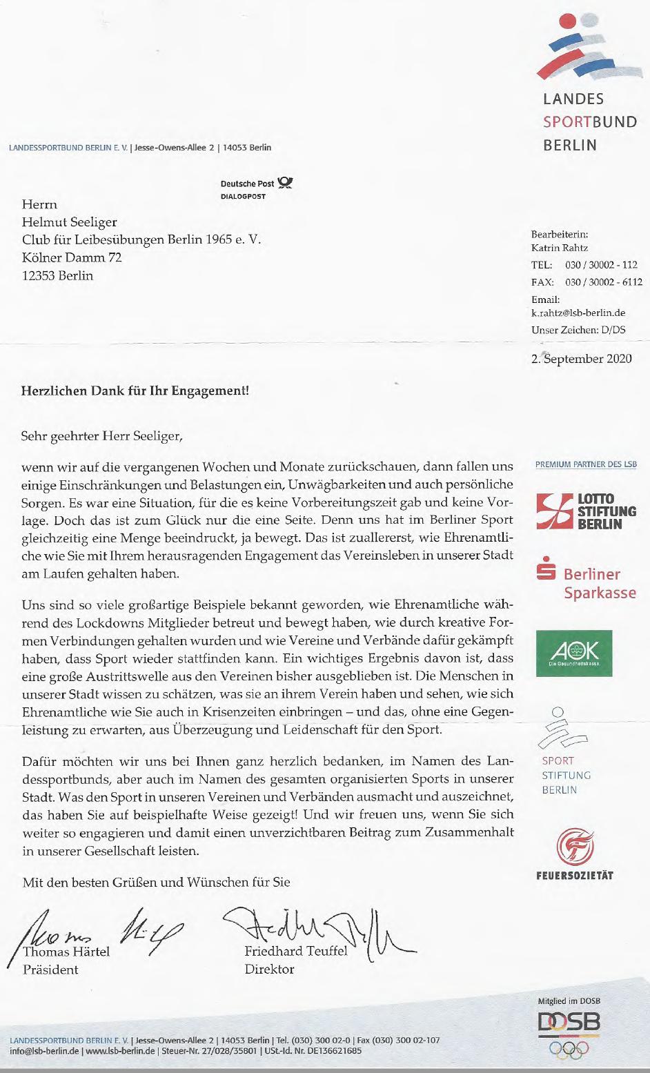 Der Landessportbund Berlin sagt Danke – und der CfL natürlich auch